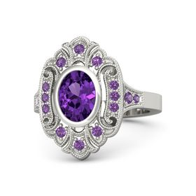 Oval Amethyst 14K White Gold Ring with Amethyst