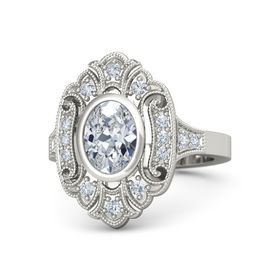 Oval Diamond 14K White Gold Ring with Diamond