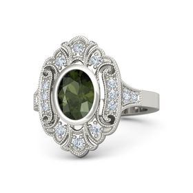 Oval Green Tourmaline 14K White Gold Ring with Diamond