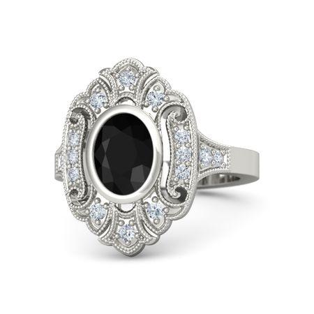 Oval Black Onyx 14K White Gold Ring with Diamond | Arya ...