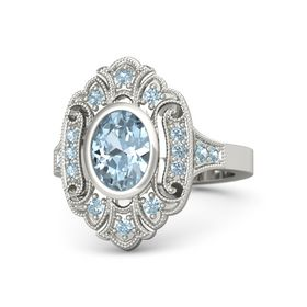 Oval Aquamarine 14K White Gold Ring with Aquamarine