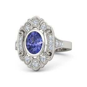 Oval Tanzanite 14K White Gold Ring with Diamond