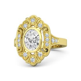 Oval White Sapphire 14K Yellow Gold Ring with Diamond