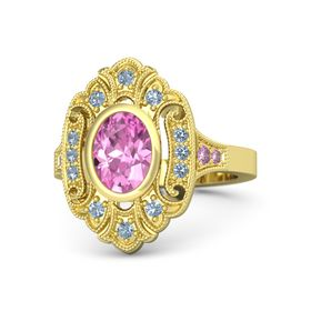Oval Pink Sapphire 14K Yellow Gold Ring with Blue Topaz and Pink Sapphire