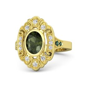 Oval Green Tourmaline 14K Yellow Gold Ring with White Sapphire and Alexandrite