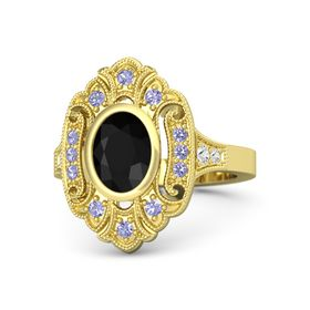Oval Black Onyx 14K Yellow Gold Ring with Tanzanite & White Sapphire