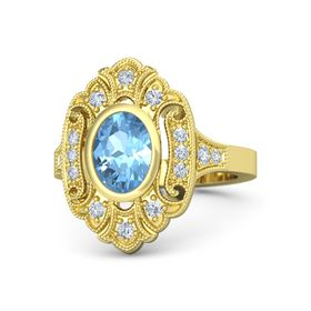 Oval Blue Topaz 14K Yellow Gold Ring with Diamond