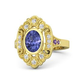 Oval Tanzanite 14K Yellow Gold Ring with White Sapphire and Amethyst