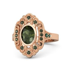 Oval Green Tourmaline 18K Rose Gold Ring with Green Tourmaline and Alexandrite