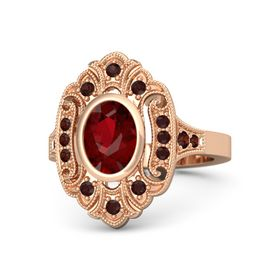Oval Ruby 18K Rose Gold Ring with Red Garnet