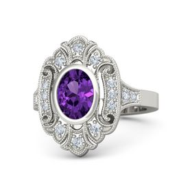 Oval Amethyst 18K White Gold Ring with Diamond