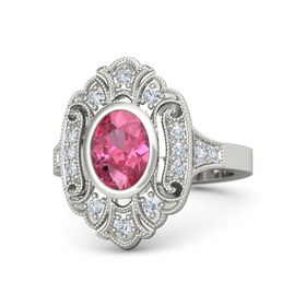 Oval Pink Tourmaline 18K White Gold Ring with Diamond