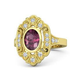 Oval Rhodolite Garnet 18K Yellow Gold Ring with Diamond