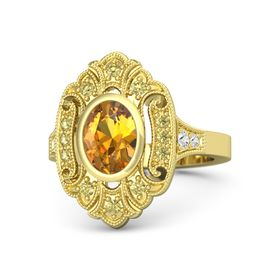 Oval Citrine 18K Yellow Gold Ring with Yellow Sapphire and White Sapphire