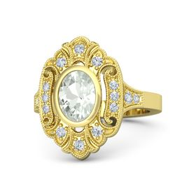 Oval Green Amethyst 18K Yellow Gold Ring with Diamond