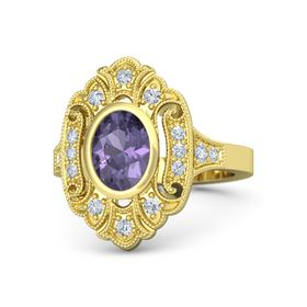 Oval Iolite 18K Yellow Gold Ring with Diamond