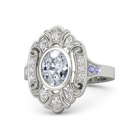 Oval Diamond Palladium Ring with White Sapphire and Iolite