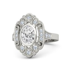 Oval White Sapphire Palladium Ring with Diamond