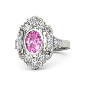 Oval Pink Sapphire Palladium Ring with Diamond