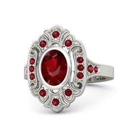 Oval Ruby Palladium Ring with Ruby