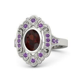 Oval Red Garnet Platinum Ring with Amethyst