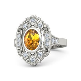 Oval Citrine Platinum Ring with Diamond