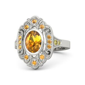 Oval Citrine Platinum Ring with Citrine and Yellow Sapphire