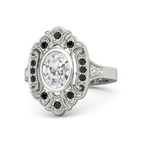 Oval White Sapphire Platinum Ring with Black Diamond and White Sapphire