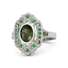 Oval Green Tourmaline Platinum Ring with Emerald & Green Tourmaline