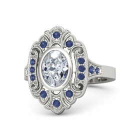 Oval Moissanite Platinum Ring with Blue Sapphire