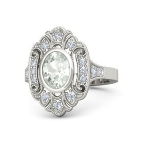 Oval Green Amethyst Platinum Ring with Diamond
