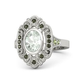 Oval Green Amethyst Platinum Ring with Green Tourmaline and Peridot