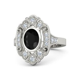 Oval Black Onyx Platinum Ring with Diamond