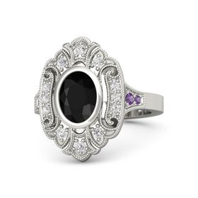 Oval Black Onyx Platinum Ring with White Sapphire and Amethyst