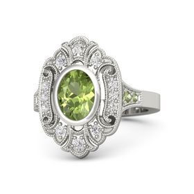 Oval Peridot Platinum Ring with White Sapphire and Peridot