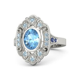 Oval Blue Topaz Platinum Ring with Aquamarine and Blue Sapphire