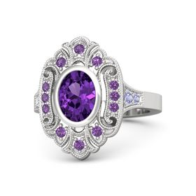 Oval Amethyst Sterling Silver Ring with Amethyst & Tanzanite
