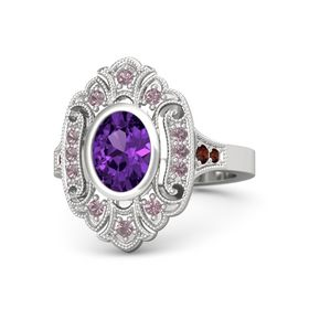 Oval Amethyst Sterling Silver Ring with Rhodolite Garnet and Red Garnet