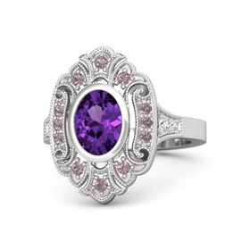 Oval Amethyst Sterling Silver Ring with Rhodolite Garnet & White Sapphire