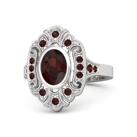 Oval Red Garnet Sterling Silver Ring with Red Garnet