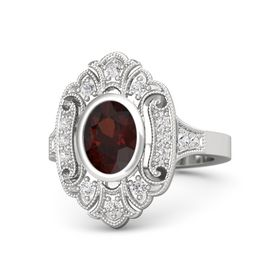 Oval Red Garnet Sterling Silver Ring with White Sapphire