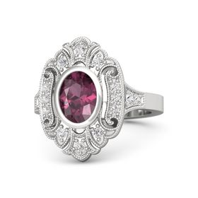 Oval Rhodolite Garnet Sterling Silver Ring with White Sapphire