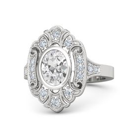 Oval White Sapphire Sterling Silver Ring with Diamond