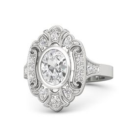 Oval White Sapphire Sterling Silver Ring with White Sapphire