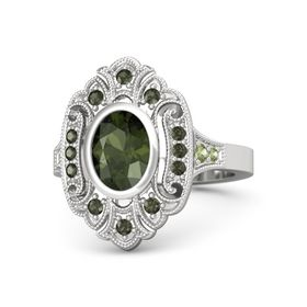 Oval Green Tourmaline Sterling Silver Ring with Green Tourmaline & Peridot