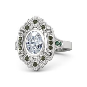 Oval Moissanite Sterling Silver Ring with Green Tourmaline and Alexandrite