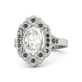Oval Green Amethyst Sterling Silver Ring with Green Tourmaline