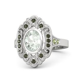 Oval Green Amethyst Sterling Silver Ring with Green Tourmaline and Peridot