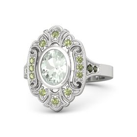 Oval Green Amethyst Sterling Silver Ring with Peridot & Green Tourmaline