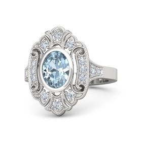 Oval Aquamarine Sterling Silver Ring with Diamond